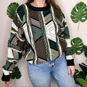 Vintage Protege 3D Green Knit Crew Neck Sweater